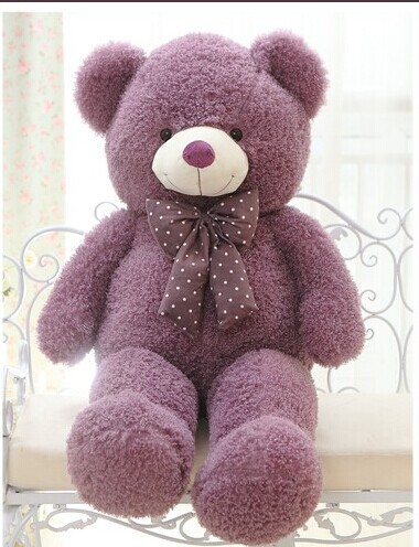 lovely teddy bear doll candy colours purple teddy bear with spots bow plush toy doll birthday gift about 80cm new creative plush bear toy cute lying bow teddy bear doll gift about 50cm