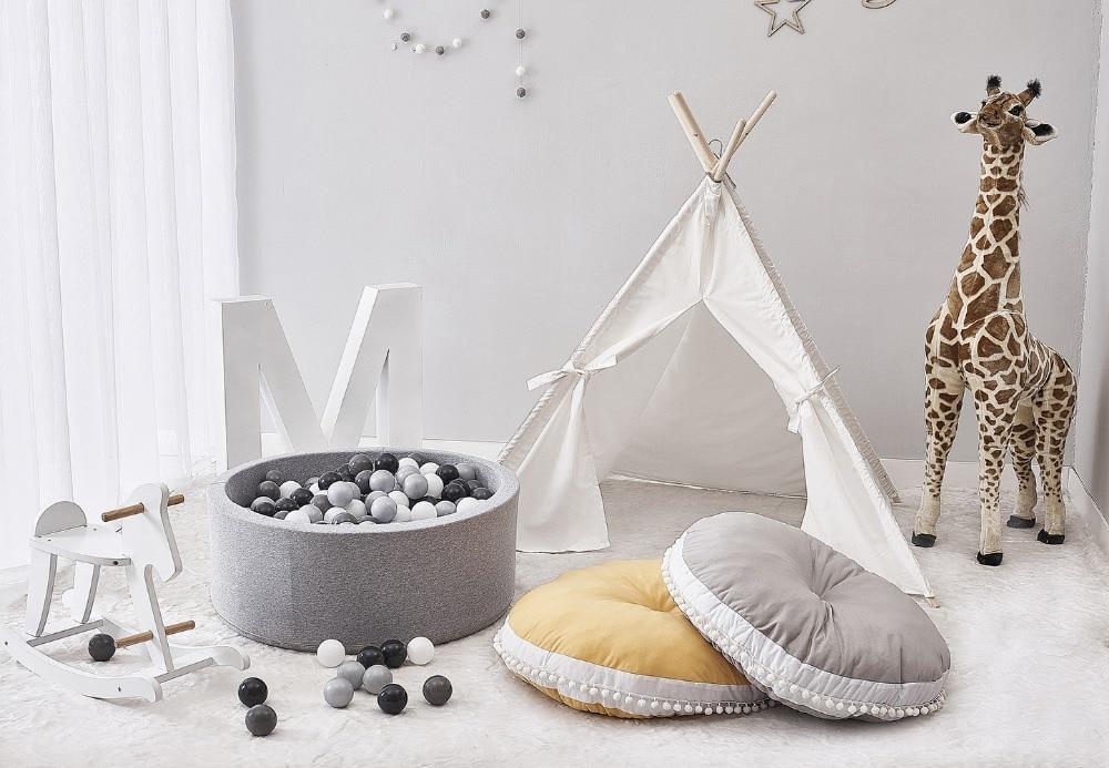 2018 Newborn Baby Round Playing Mat Pure Cotton Woolen Ball Fabric Thickened Children Carpet Soft Baby Play Mat Childrens Toys ...