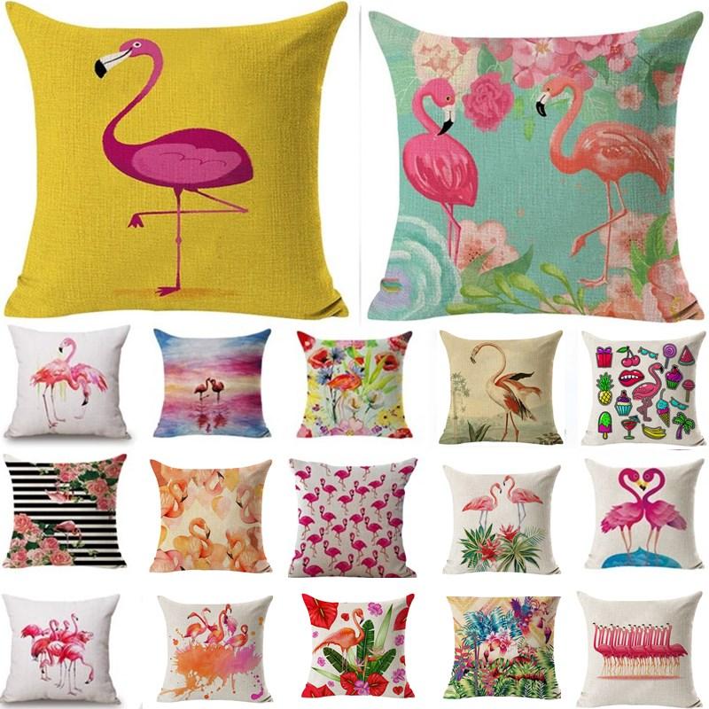 1Pcs Flamingo Pattern Cotton Linen Throw Pillow Cushion Cover Seat Car Home Decoration Sofa Decor Decorative Pillowcase 40158