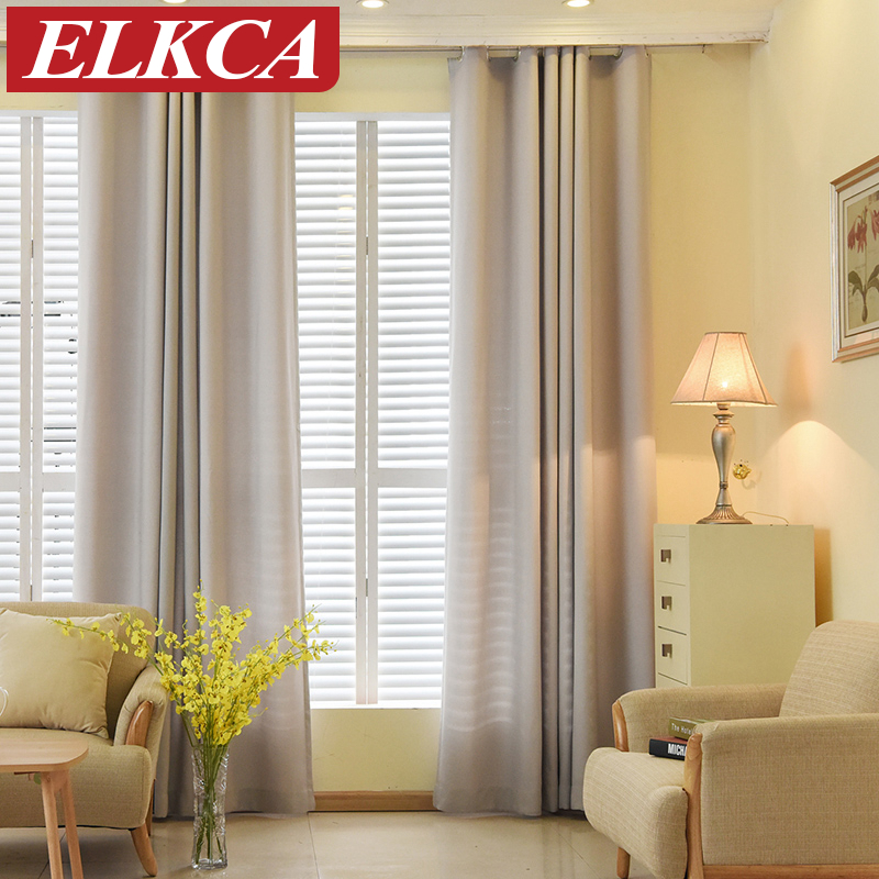 Solid color faux linen velvet curtains for living room for Modern living room window treatments