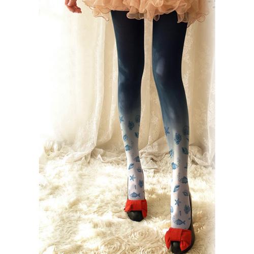Princesa doce lolita meia calça único submarino mundo pequeno de impressão gradiente meias LWK75
