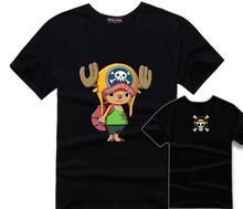 Tony Tony Chopper Black T-Shirt Cute Anime Men T Shirts One Piece Costume Tshirt