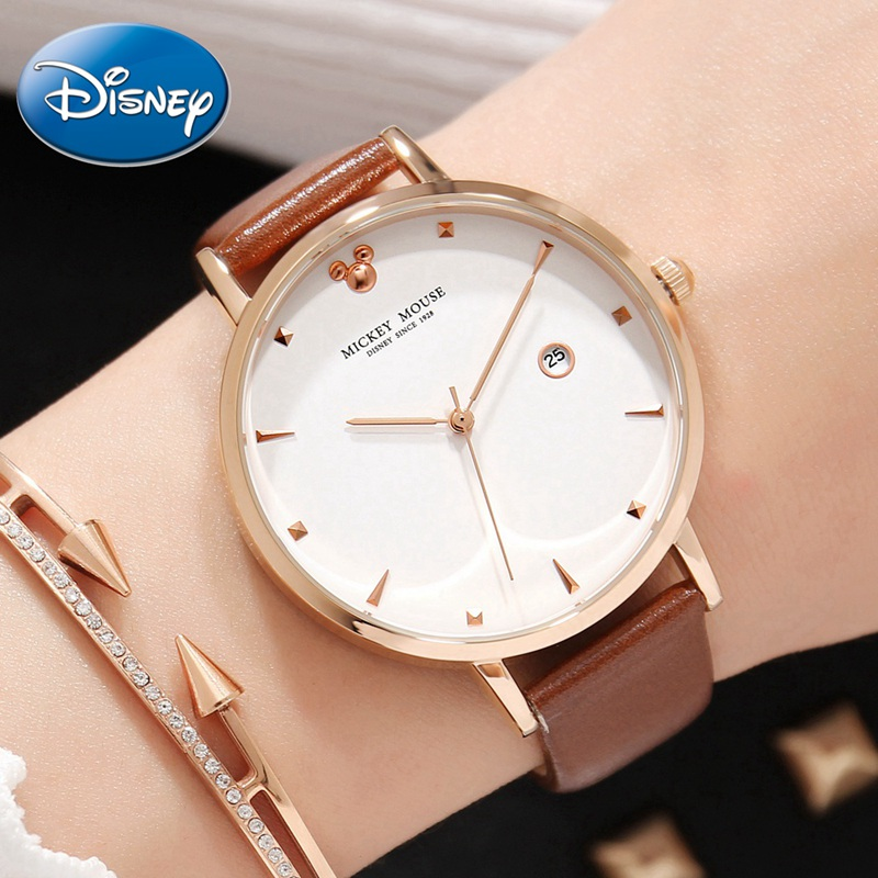 Mickey Mouse Women Fashion Trendy Genuine Leather Band Quartz Watch Ladies Disney Brand Calendar Watches Woman Clock WaterproofMickey Mouse Women Fashion Trendy Genuine Leather Band Quartz Watch Ladies Disney Brand Calendar Watches Woman Clock Waterproof