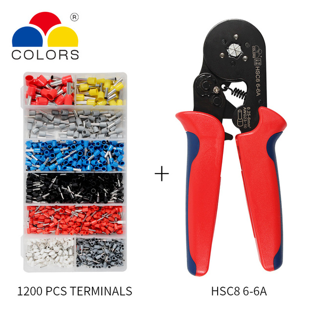 Adjustable Terminal Crimping Pliers Automatic Cable Wire Stripper Stripping Crimper Tool with 1200 Terminals Kit