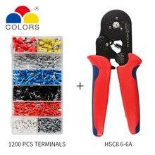 Ajustable alicates de engarce de Terminal de Cable Stripper de herramienta que prensa con terminales 1200 Kit