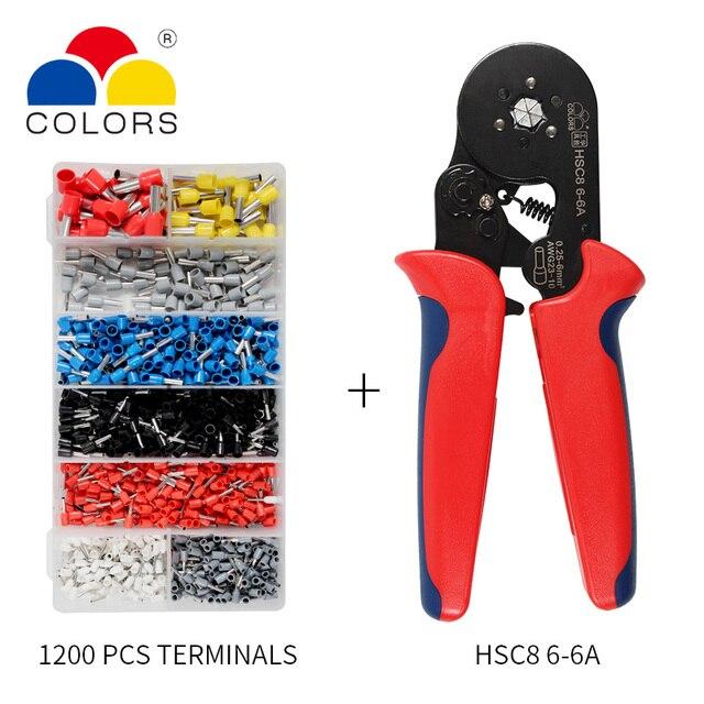 Einstellbare Terminal Crimpen Zangen Automatische Kabel Abisolierzange Abisolieren Crimper Werkzeug mit 1200 Terminals Kit