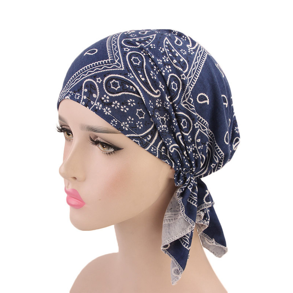 Muslim Female Hats for Women Headscarf Paisley Print Turban Chemotherapy Wrap Caps for Ladies Girls Cancer Chemo Hats femme(China)