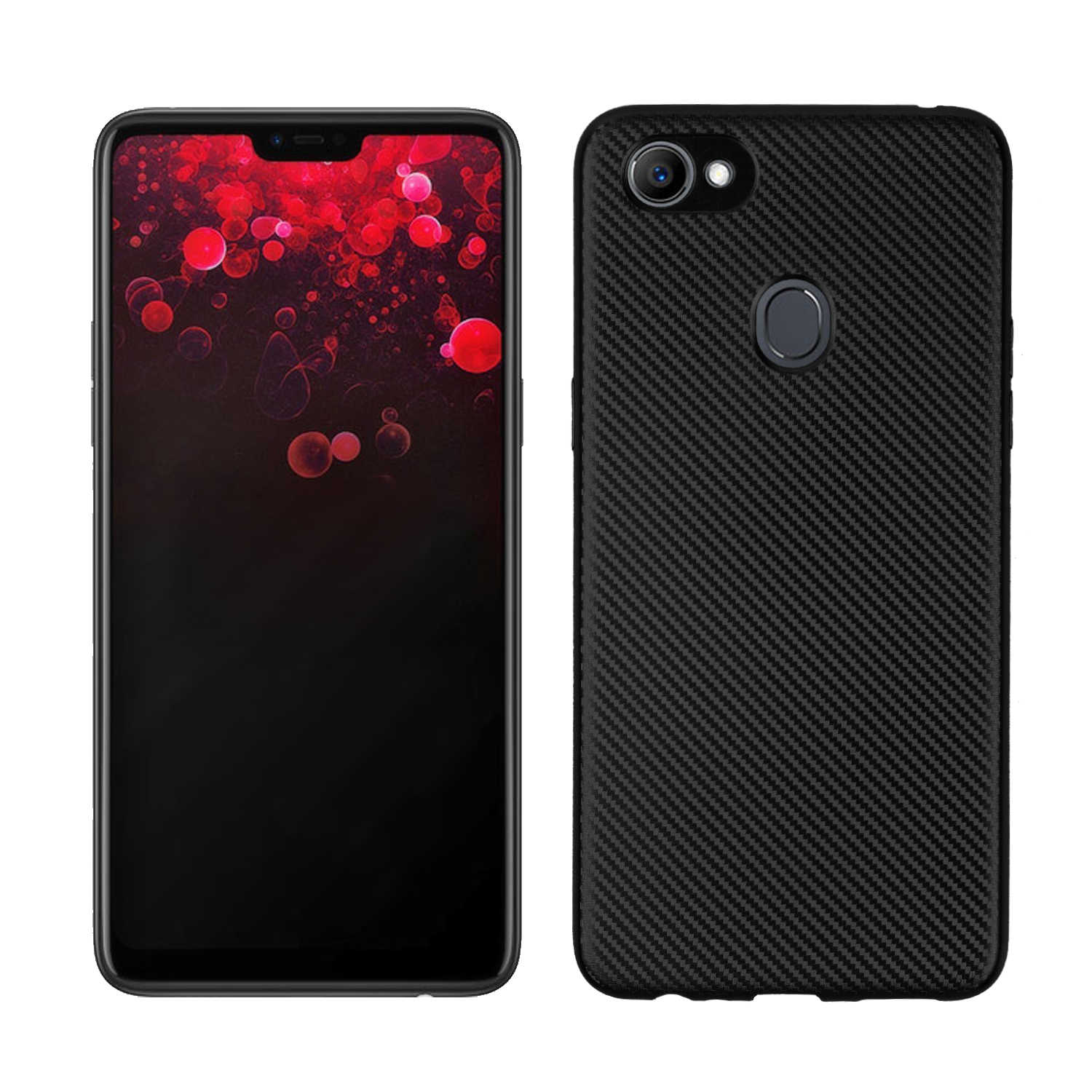 official photos 8c2f9 3a8a0 For OPPO F7 Case Classic Carbon Fiber Texture TPU Rubber Silicone  Protective Cover Soft Back Single Shell Phone Mobile Skin Bag
