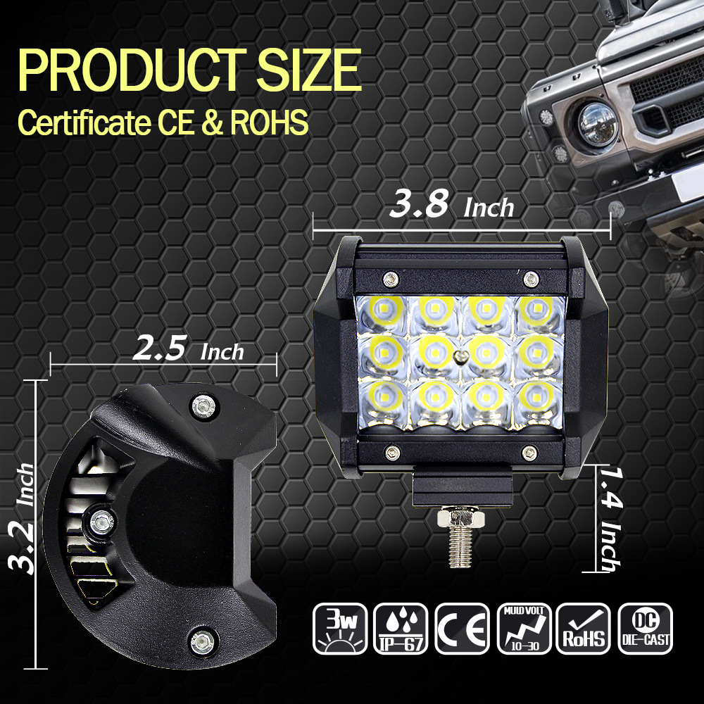 3.8 36W 6000K Day Light LED Bar Offroad Car Barra Work Light For Ford Jeep Motorcycle ATV UTV SUV Truck Boat
