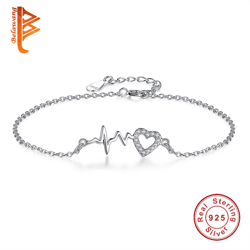 925 Sterling Silver Thumping Heartbeat Charms Bracelets for Women Link Chain Bracelet Bangle Wholesale Vintage Jewelry 2018 mens jewelry double layer link chain men bracelets 925 sterling silver bracelets
