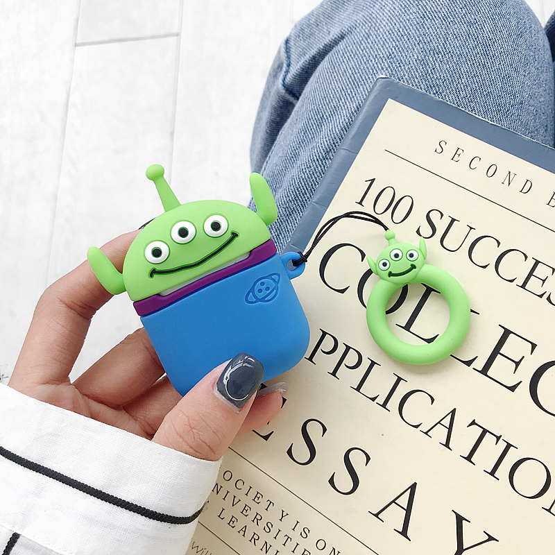 3D Cute Cartoon Toy Story Alien Shockproof Headphone Cases For Apple Airpods 1 2 Silicone Protection Earphone Cover Accessories