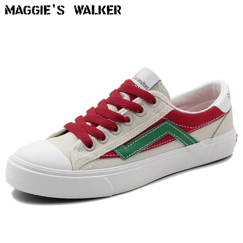 Maggie's Walker New Arrival 2018 Fashion Casual Canvas Shoes Lacing Platform Shoes Candy-colored Canvas Outdoor Shoes Size 35~39 free shipping new arrival 2017 women trendy candy colored slip on canvas shoes platform canvas casual loafers size 35 40