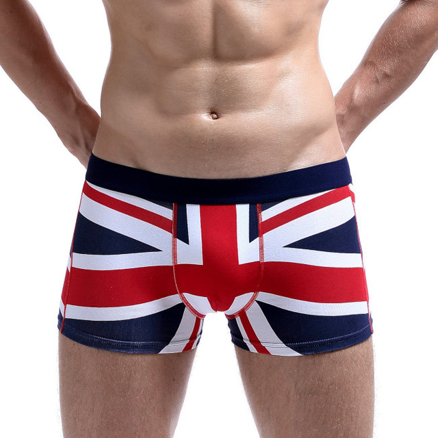 2017 SEOBEAN Brand Cotton Sexy Underwear Men Boxer Shorts UK Flag Print  Bulge Design Low Waist 9a4d46f6ac93