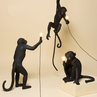 Modern Hemp Rope Pendant Lights Black Resin Monkey Lamp American Country Loft Industrial Hanging Luminaire Home Decor Fixtures