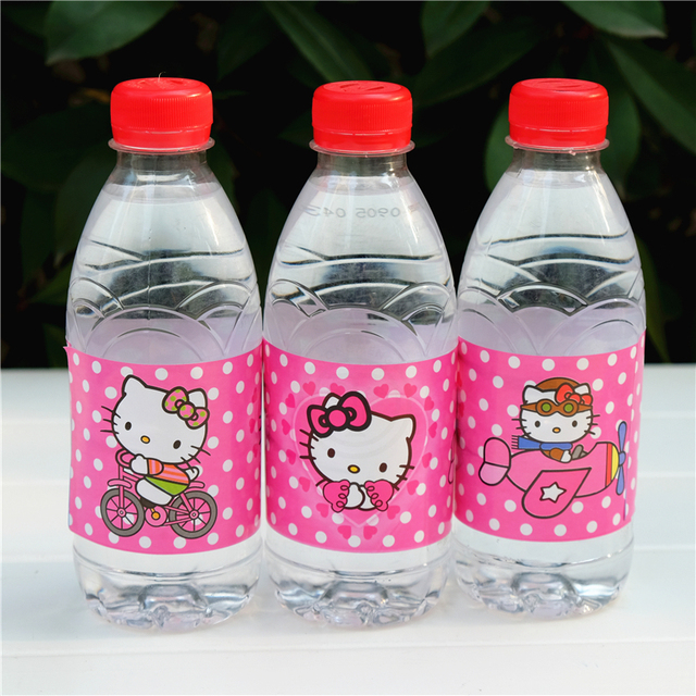 12pcs Hello Kitty Water Bottle Label Candy Bar Kids Birthday Party Supplies Baby Shower Favor