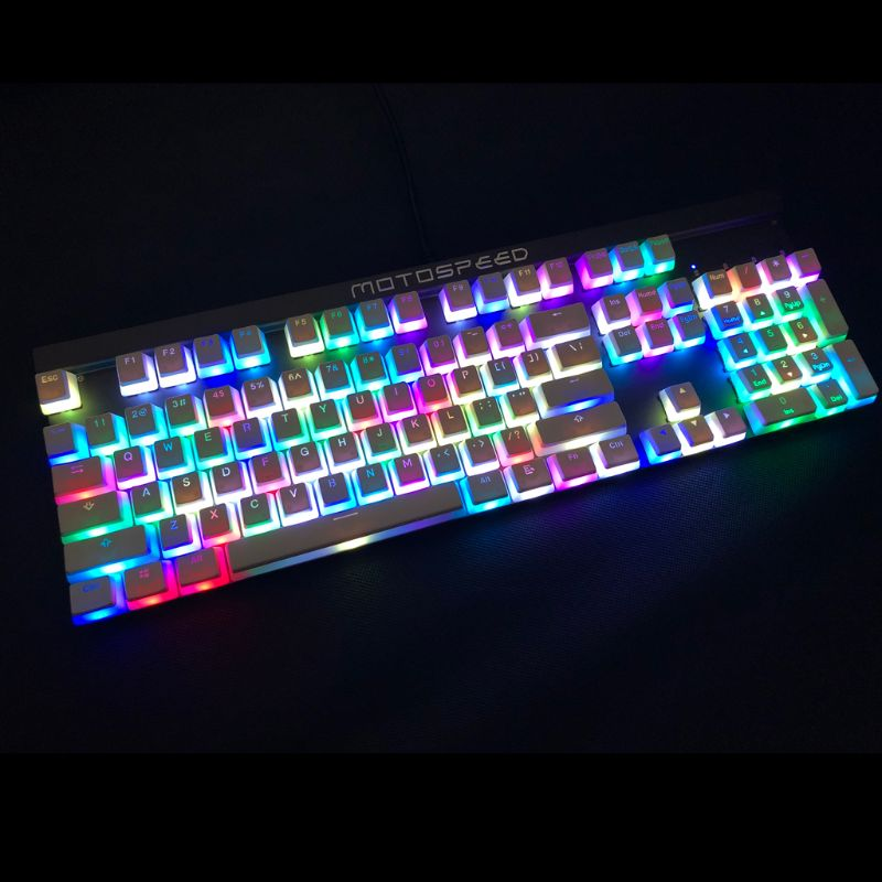 RGB 108 Keycaps ANSI Layout PBT White Pudding Double Skin Milk Shot Backlit Keycap For OEM Cherry MX gh60 poker 87 tkl 104 108Keyboards   - AliExpress