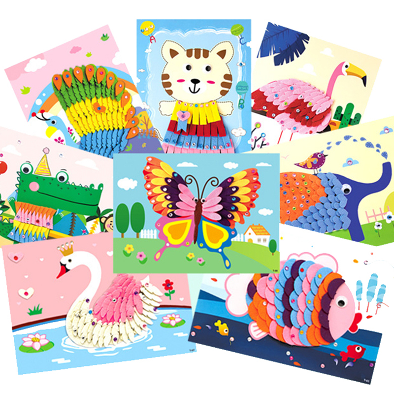 2020 New 3D Diy Crafts Toys For Children Felt Paper Girl Gift Handicraft Kindergarten Material  Arts And Crafts Kids Baby Toy