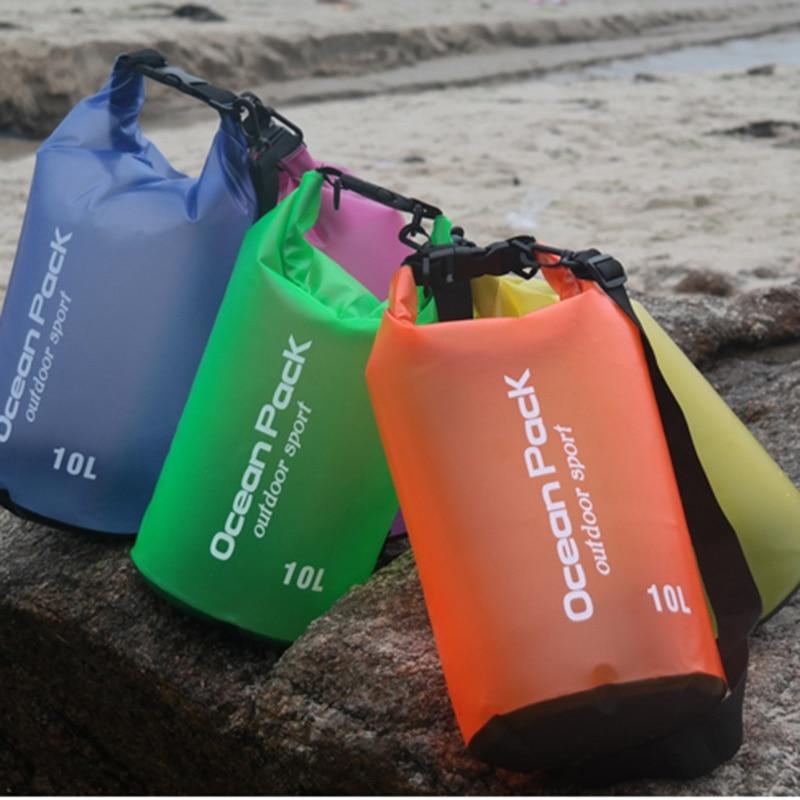2L 5L 10L Waterproof Dry Bag Outdoor Beach Single Shoulder Strap PVC Buckled Floating Storage Sack Travel Boating Rafting Bags