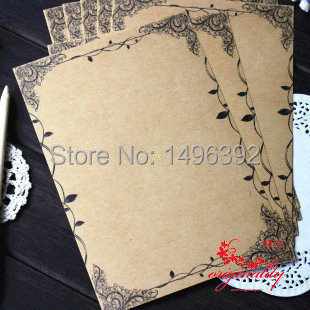(6 lots/pack) Vintage Writing Paper Flower and Leaf Kraft  Letter Paper Europe Style Writing Paper Stationery Letter Paper