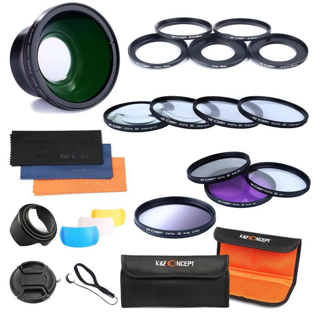 K&F Concept 58mm Lens Filter ANGLE LENS Filter Adapter 37-58MM 40.5-58MM 49-58MM 52-58MM 55-58MM Slim CPL Fader Variable benro 58mm cpl filter shd cpl hd ulca