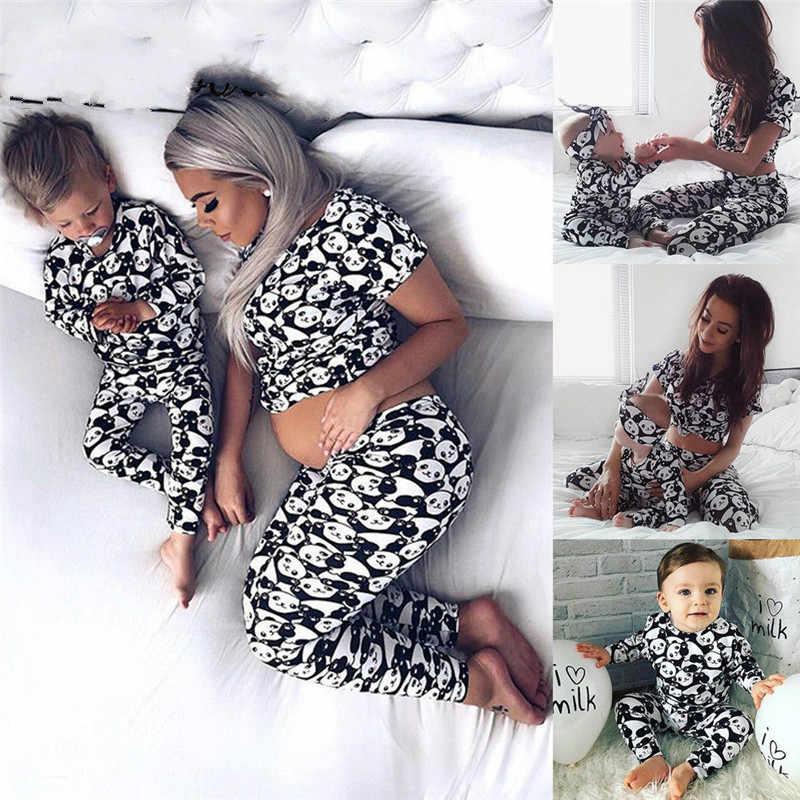 93fcddc438 2018 New Family Matching Panda Print Pajamas Set Women Baby Kids Girl Boys Sleepwear  Nightwear Pjs