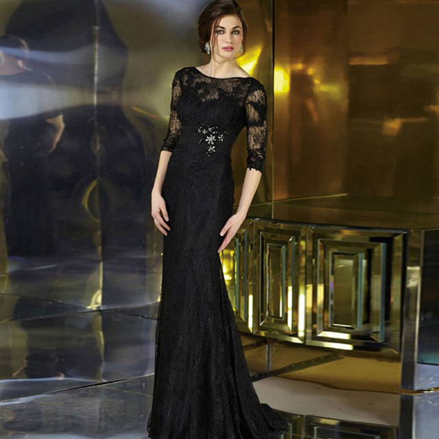 Black Sweep Lace Half Sleeve 2016 Modern Victorian Special Occasion ...