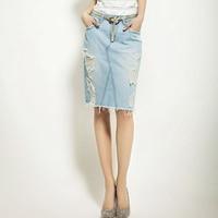 Denim Skirts Women 2017 Jeans Casual Vintage Ripped Slim Blue Skirt Retro Midi Skirt Sexy Style