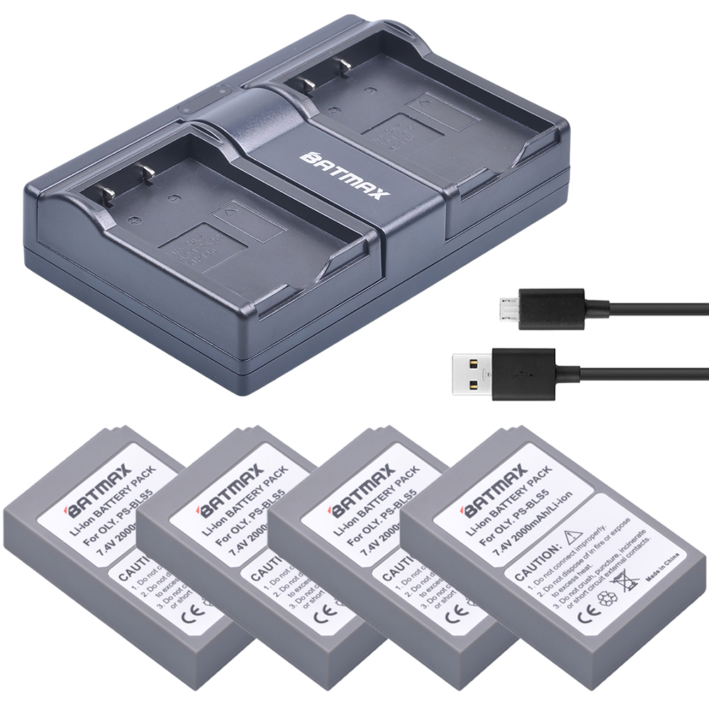 4Pcs PS-BLS5 BLS-5 BLS-50 Batteries+USB Dual Charger for Olympus PEN E-PL2 E-PL5 E-PM2 Stylus 1 1s OM-D E-M10 Mark II Camera propre p177 bm01 配豹米空气净化器 去甲醛过滤网除pm2 5滤芯 适用于豹米1 2代