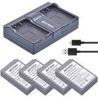 4Pcs PS BLS5 BLS 5 BLS 50 Batteries+USB Dual Charger for Olympus PEN E PL2 E PL5 E PM2 Stylus 1 1s OM D E M10 Mark II Camera