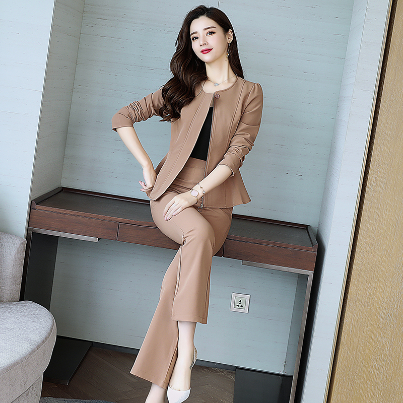 e9b0a07f18 US $46.87 |autumn 2018 latest design women business outfit Korean fashion  suits new zipper shirt with belt pants two piece outfit M XXL-in Women's ...