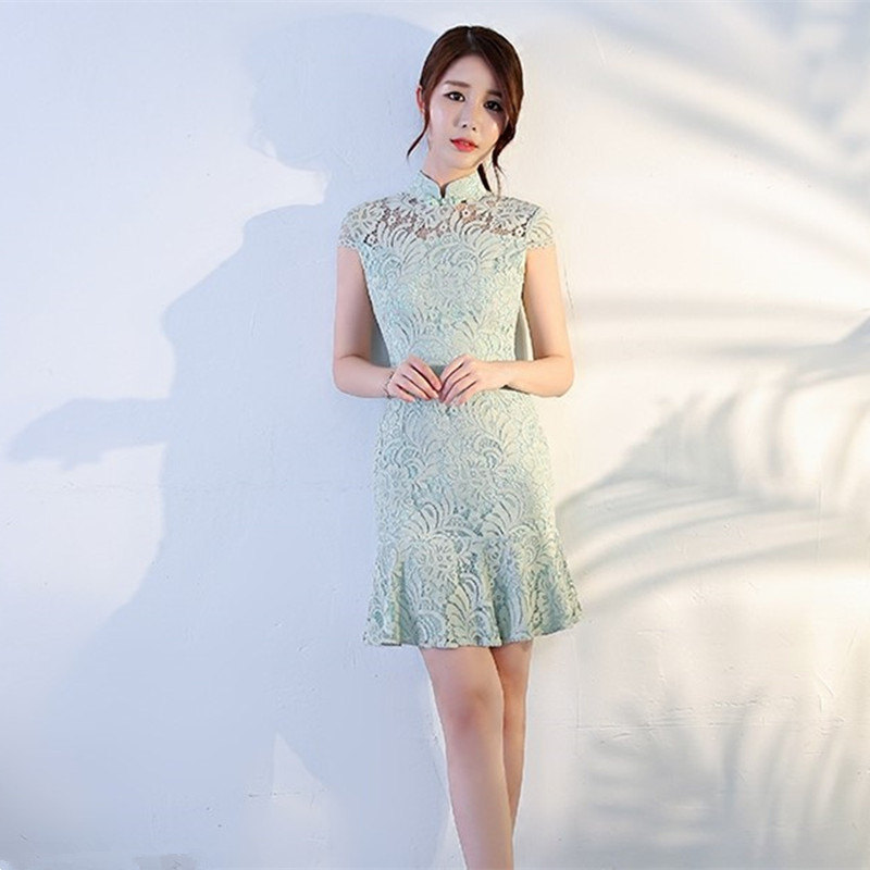 Real Photo Elegant High Neck Cap Sleeve Lace With Button Mint Green Mermaid Short Party Dress Onepiece Plus Size Abiye 0719