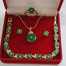 Дизайн! Чудесный зеленый нефрит браслет серьги кольцо и кулон 4 шт. набор