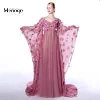 Menoqo Sexy Evening Dress Big Long Sleeves Pregnant Women High Waist Hand made Flowers Maternity Evening Dress 2018 Real Picture