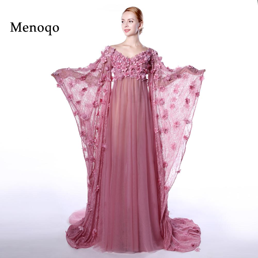 Online buy wholesale sexy maternity evening dresses from china menoqo sexy evening dress big long sleeves pregnant women high waist hand made flowers maternity evening ombrellifo Images