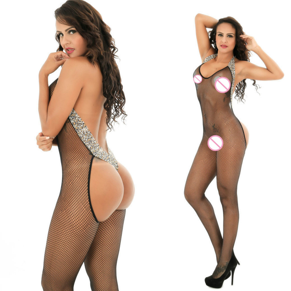 <font><b>Sexy</b></font> Erotic Bodystocking Fishnet Open Crotch Backless Leopard <font><b>Bodysuit</b></font> Babydoll Fetish <font><b>Lingerie</b></font> Lenceria Porno Latex <font><b>Catsuit</b></font> image