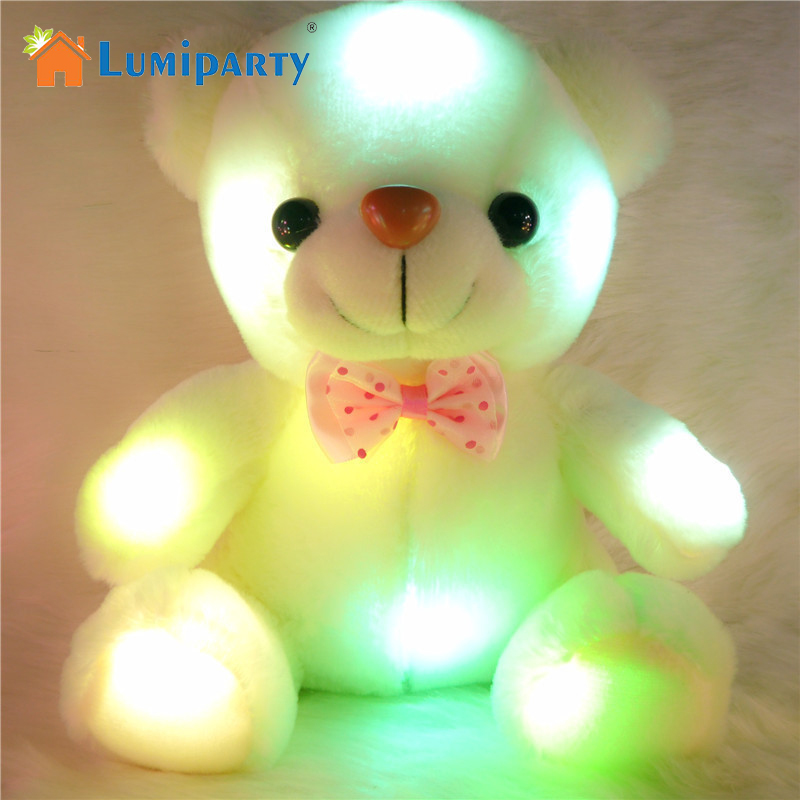 LumiParty 2017 New Hot Sale 20cm Creative Light Up LED Teddy Bear Stuffed Animals Toy Colorful Glowing Teddy Bear Gift for Kids new creative plush bear toy cute lying bow teddy bear doll gift about 50cm