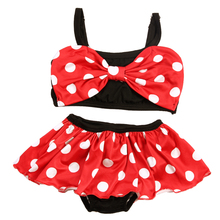 2Pcs Kids Baby Girls Dress Swimming Trunk Cute Dot Swimsuit Children Girl Bikini Set Summer Swimwear Bathing Suit 1-6Y