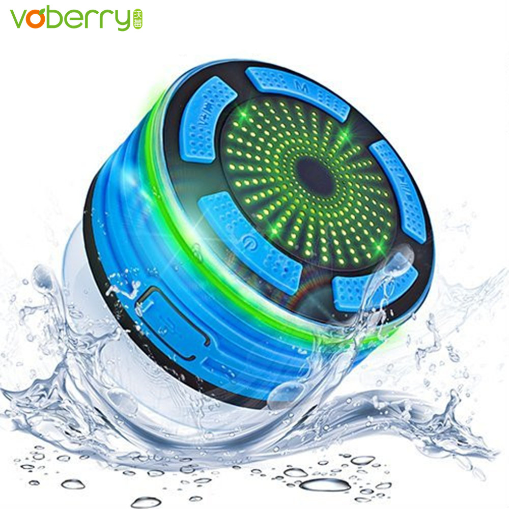 VOBERRY Portable MP3 IPX7 Waterproof Bluetooth Speaker F013 LED Light Speakers Outdoor Mini Subwoofer with FM Radio TF Card