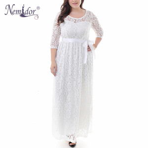 Image 3 - Nemidor High Quality Women Elegant O neck Party Full Lace Dress Plus Size 7XL 8XL 9XL 3/4 Sleeve Vintage Wedding Long Maxi Dress