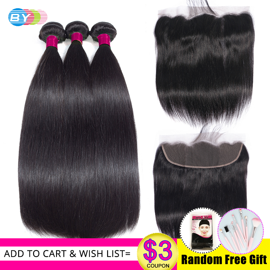 Straight Hair Bundles With Frontal Closure HD Swiss Lace 13x4 Ear To Ear Lace Frontal With