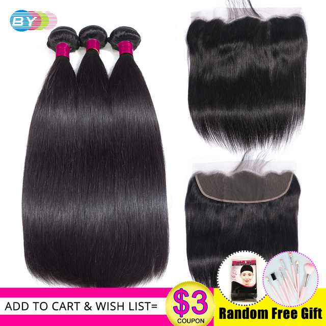 BY Straight Hair Bundles With Frontal Brazilian Hair Weave Bundles With Closure Remy Human Hair Bundles With Closure