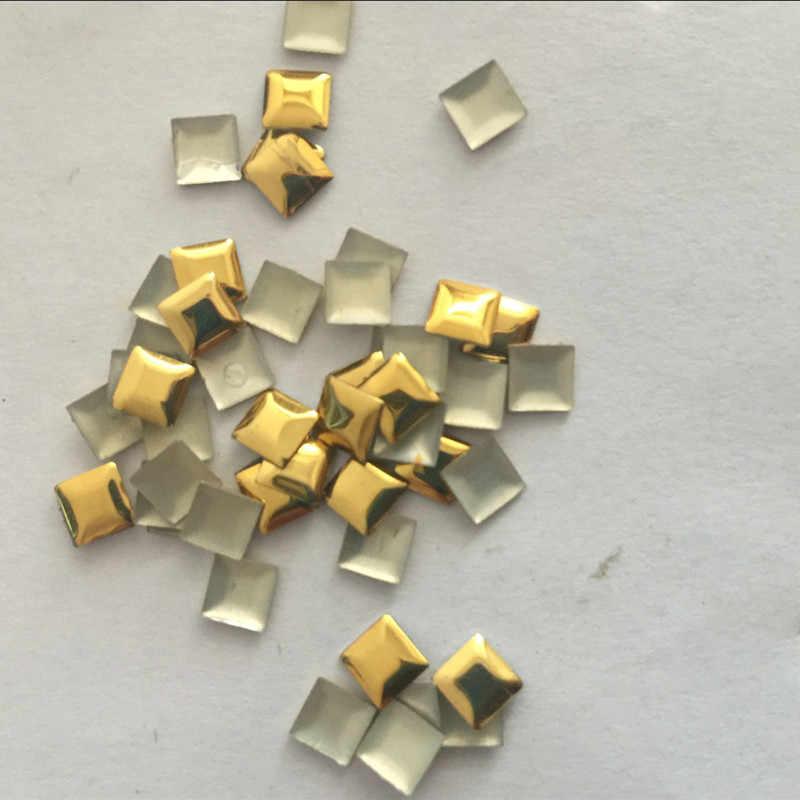 Nuevo 50 piezas 5*5mm oro Hotfix pernos de aluminio pirámide plana de hierro en diamantes de imitación Transferencia de Calor plana para púas de Punk Rock DIY