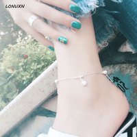 20.5cm+4.5cm High quality beads stars female Korean Anklet 925 silver retro Japan simple beads female student summer jewelry