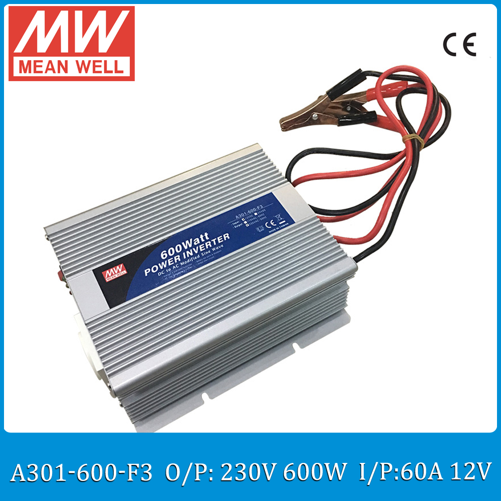 Original Meanwell A301-600-F3 60A 12VDC to 230VAC 600W Modified Sine Wave DC/AC Power Inverter