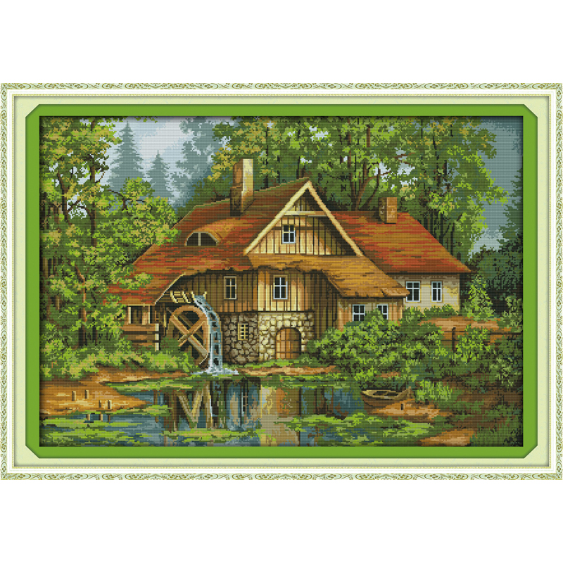 Everlasting love Cabin with water truck Chinese cross stitch kits Ecological cotton stamped 11 DIY new year decorations for home
