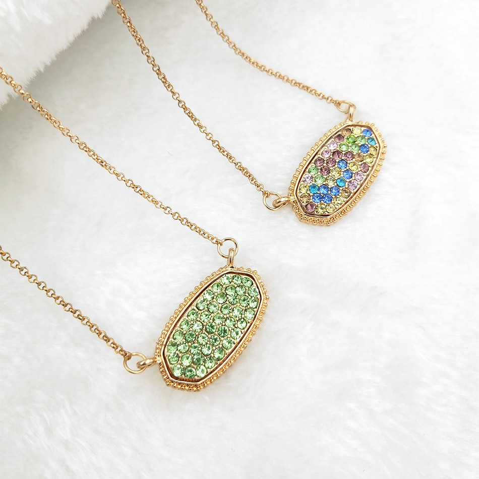 Trendy Nette Romantische 2 Farben elliptischen oliven Anhänger Halsketten Für Frauen Mädchen Gold Exquisite Mode Geburtstag Festival Geschenk