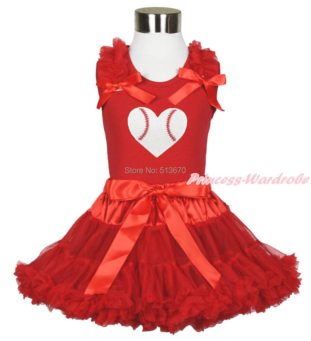 Baseball Print Red Top Hot Red Pettiskirt Tutu Baby Girl Outfit Set 1-8Year MAPSA0447 new hot sail 2015 children girl chiffon top skirt set baby pettiskirt tutu top girls tutu skirt free shipping