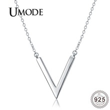 UMODE New 2019 925 Sterling Silver V Shape Pendant Necklaces for Women White Gold Necklace Jewelry Simple Design Pendant ALN0204 все цены