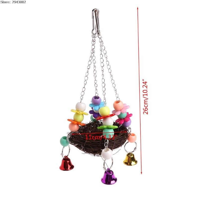 Натуральный Ротанг Товары для птиц попугай гнездо качели игрушки с колокольчиками Кейдж Окунь подставка для попугай волнистый Попугайчик ...