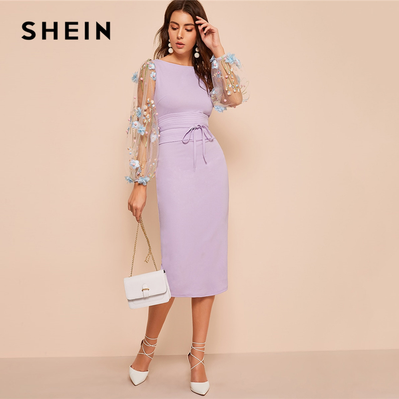 Image 5 - SHEIN Black Applique Embroidered Mesh Sleeve Pencil Dress Women 